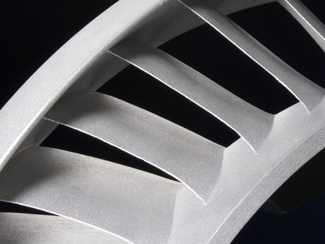Close up of a turbine wheel made using investment casting