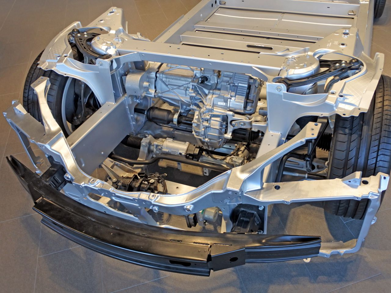 Above view of an electric car chassis and battery