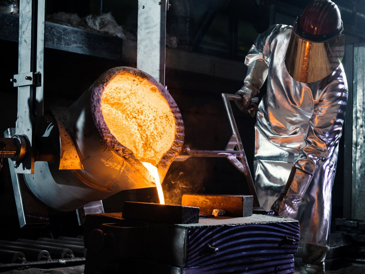 A person working on steel casting at ACTech