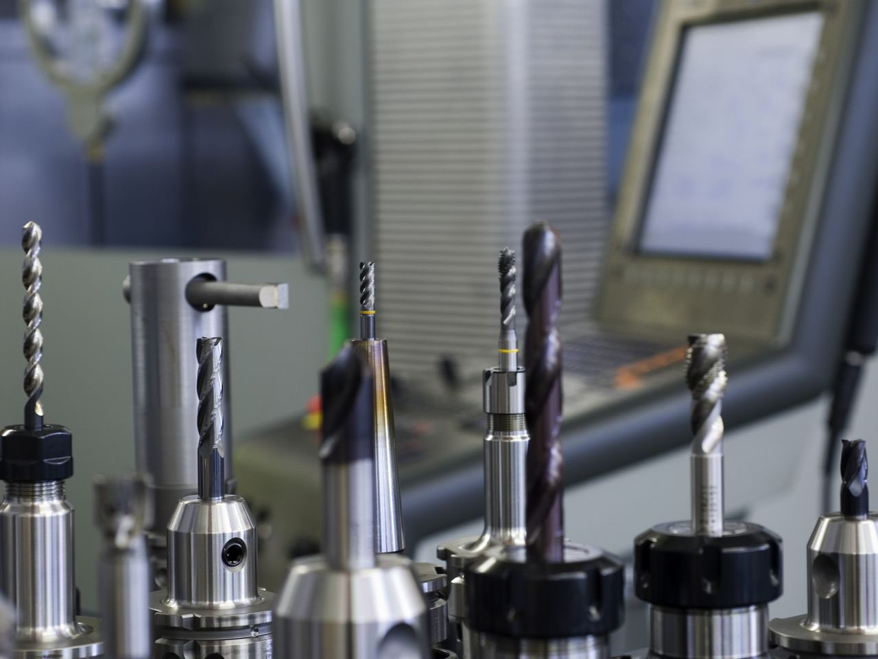 Close up different milling tools