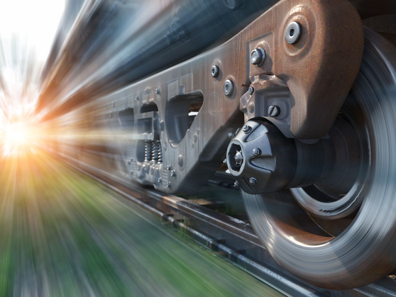 Bogie frame of a rail vehicle during motion